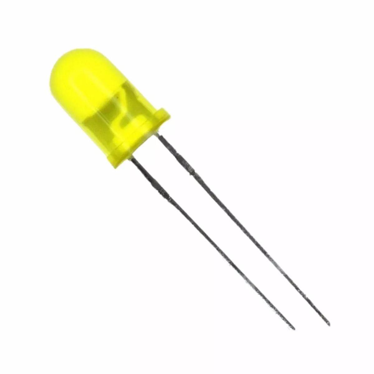 100x Led Amarelo Difuso 5mm