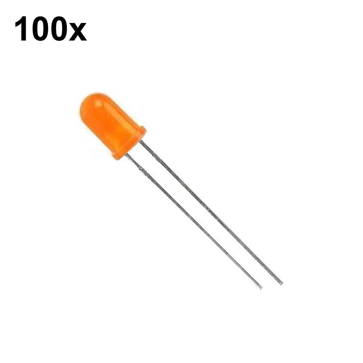 100x Led Difuso Laranja 5mm