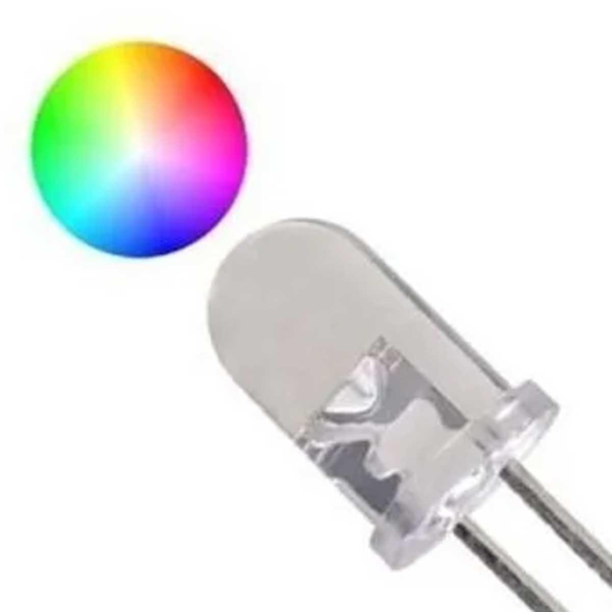 100x Led Flash 5mm RGB Alto Brilho Efeito Lento 2 Pinos Cor Automática