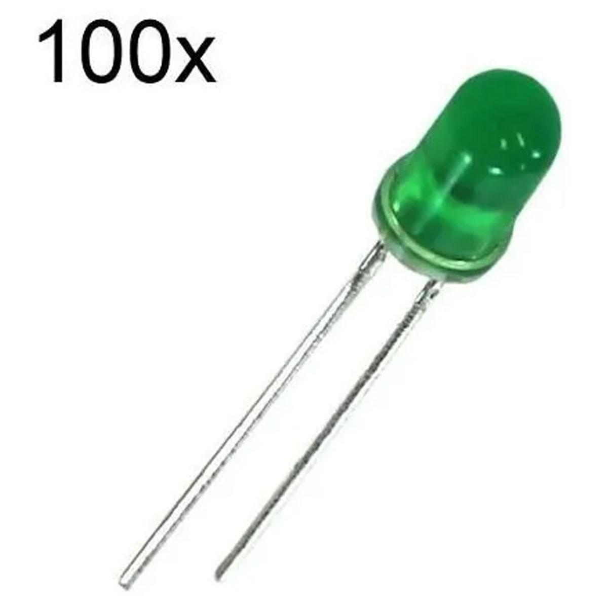 100x Led Verde Difuso 5mm