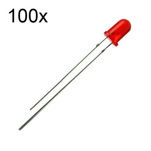 100x Led Vermelho Difuso 3mm