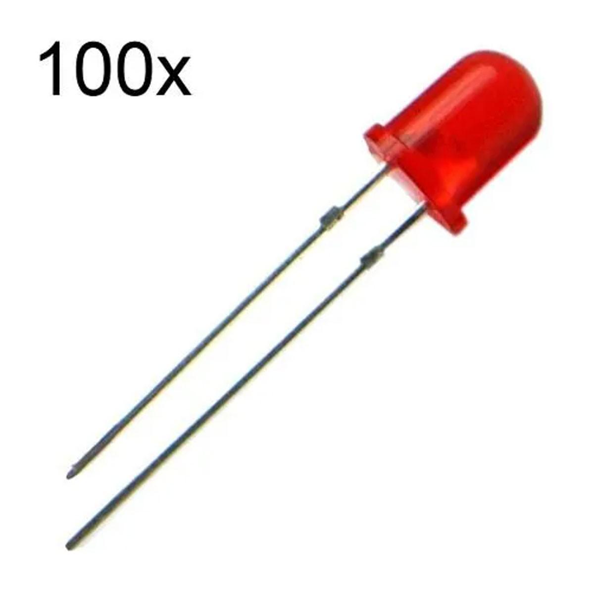 100x Led Vermelho Difuso 5mm