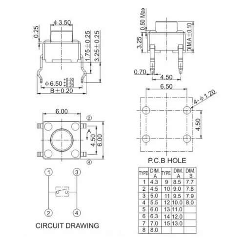 10x Mini Chave Táctil Push Button / Botão 6x6x4.5mm