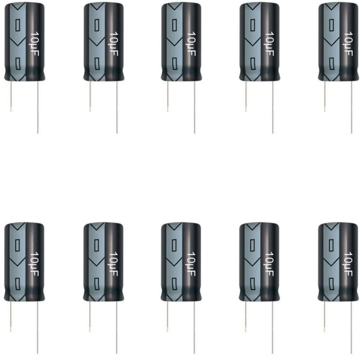10x Capacitor Eletrolitico 10uF 25V 105°C