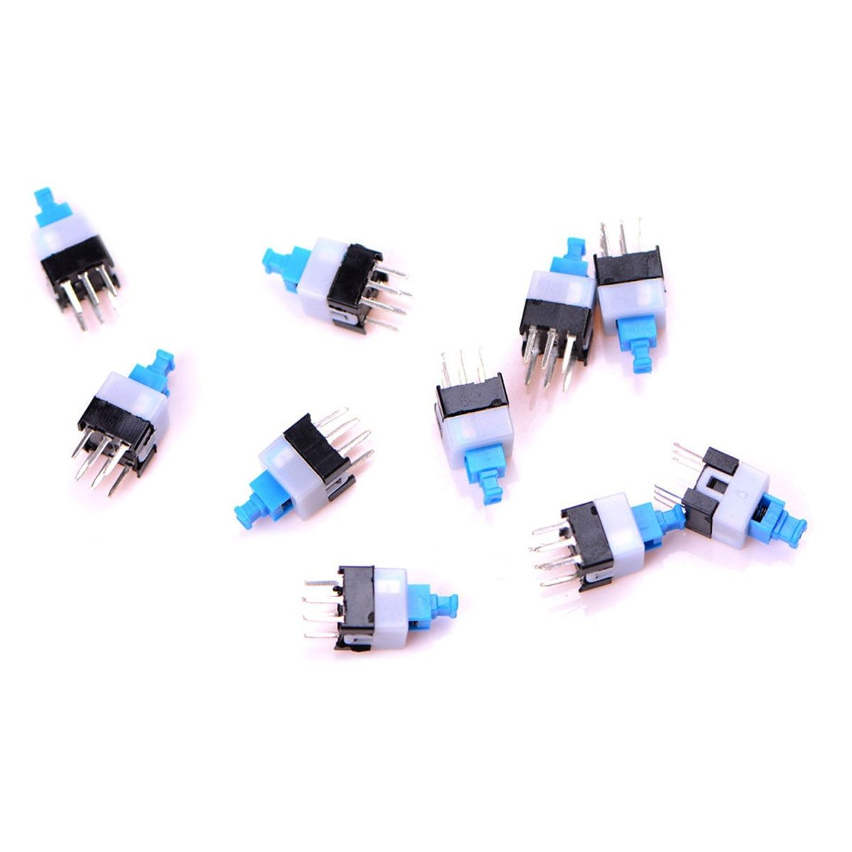 10x Chave Botão 7x7mm com Trava Azul 6 Terminais