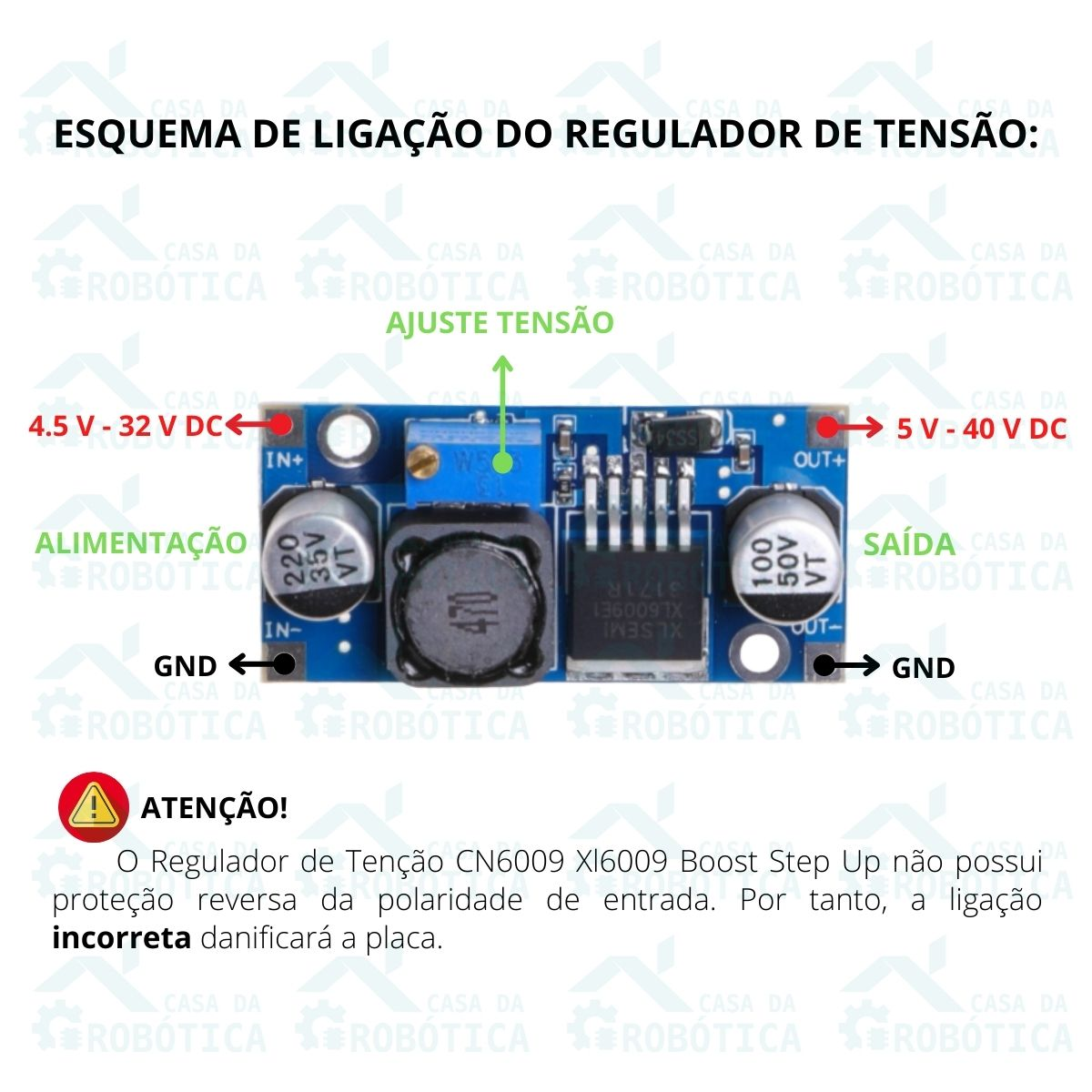 10x Conversor Regulador de Tensão DC DC Cn6009 Xl6009 Boost Step Up