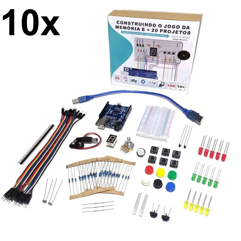 10x Kit Iniciante para Arduino com Tutorial - Construindo o Jogo da Memória e + 20 Projetos!