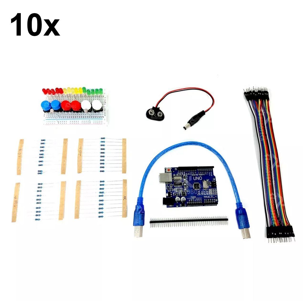 10x Kit Uno SMD R3 para Iniciantes em Arduino