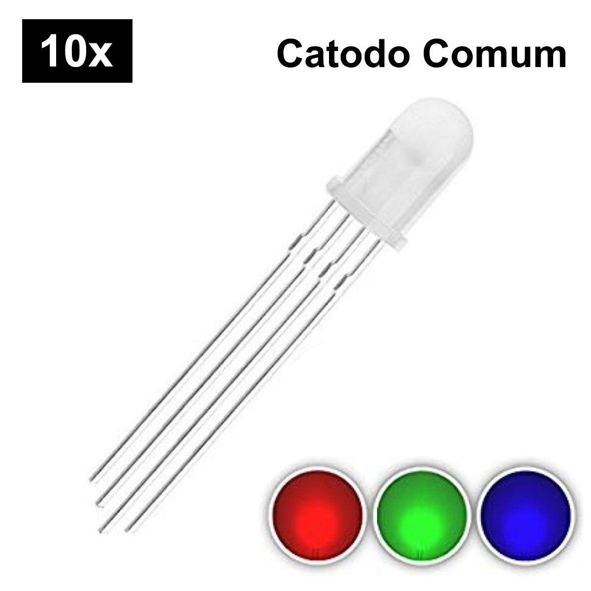 10x Led 5mm RGB 4 Terminais Difuso - Catodo Comum