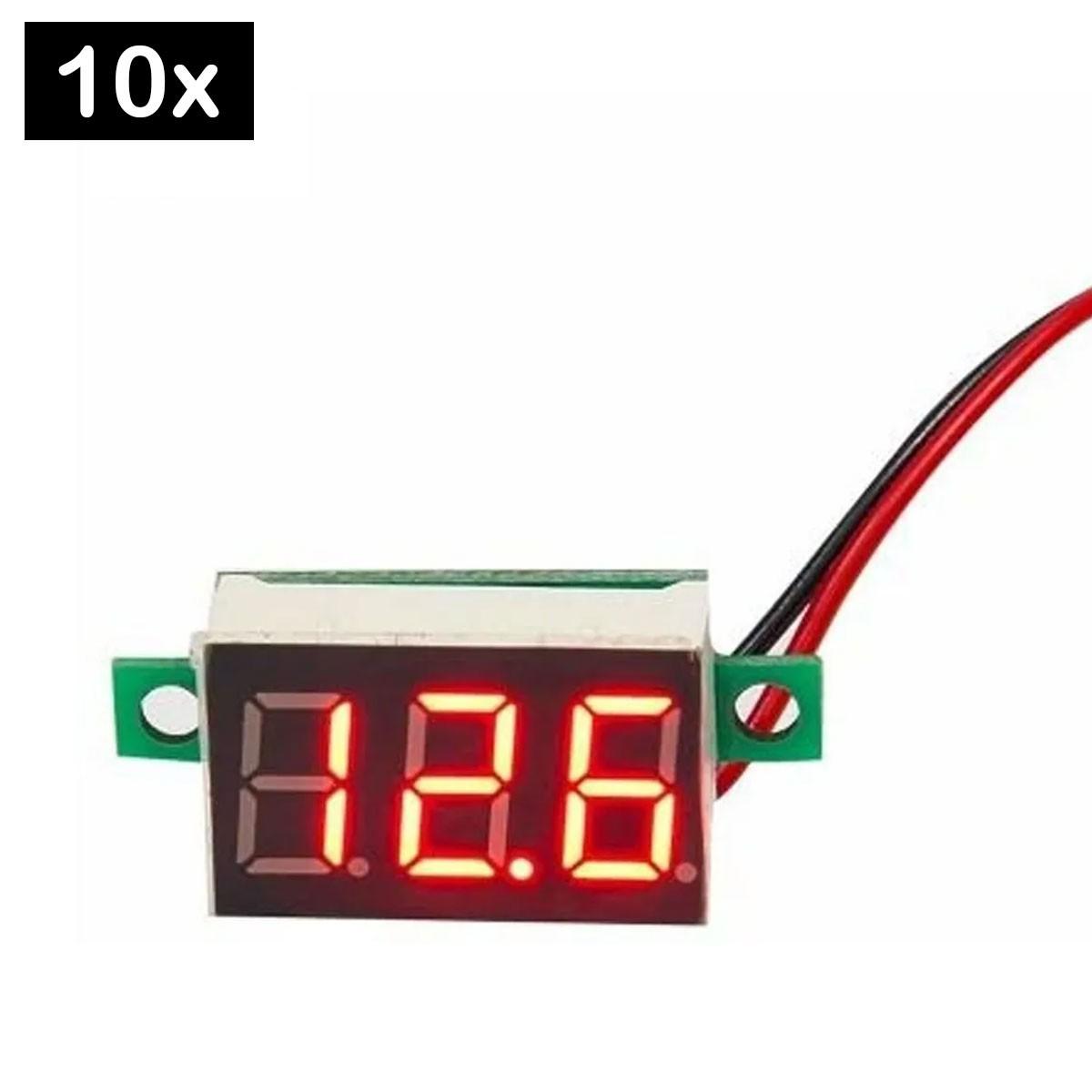 10x Mini Voltímetro Digital 0v a 100v | Display Vermelho