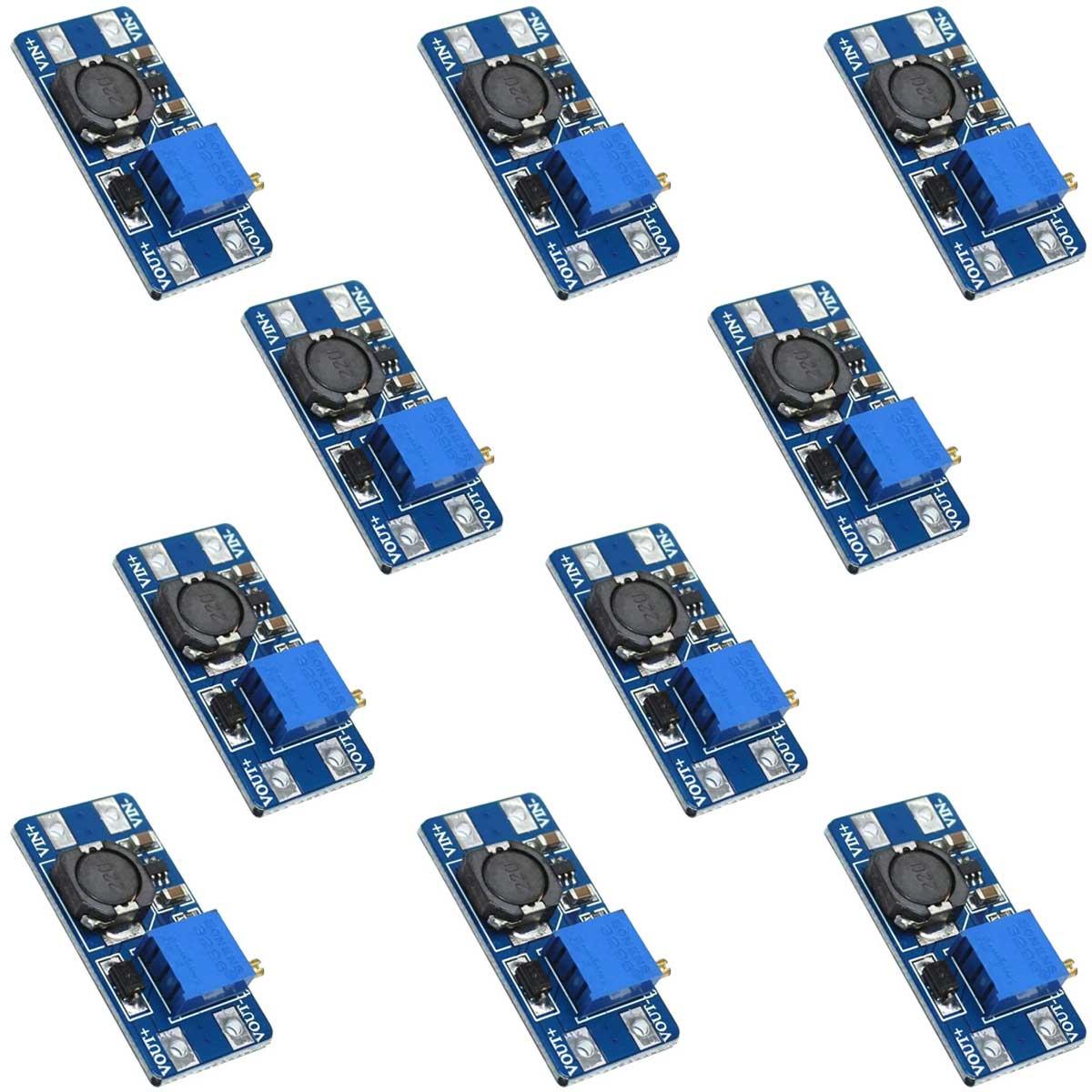 10x Módulo Regulador de Tensão Ajustável MT3608 Step Up - 2,5V a 28V