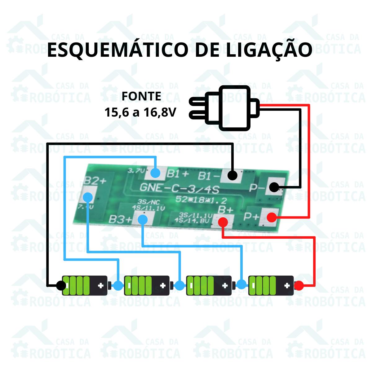 10x Placa para Carregar Baterias com Proteção Bms e Balanceamento 4S 8A