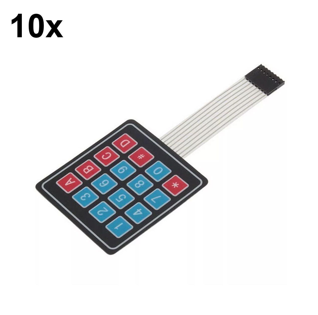10x Teclado Membrana Matricial 4x4 16 Teclas Keypad Arduino