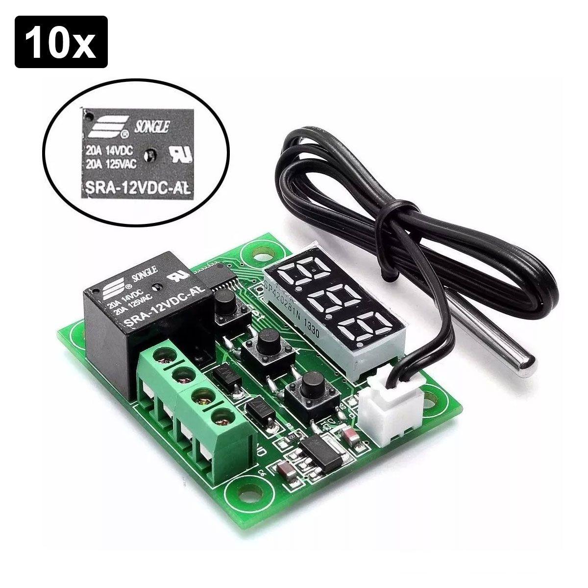 10x Termostato para Controle de Temperatura w1209 125VAC Chocadeira
