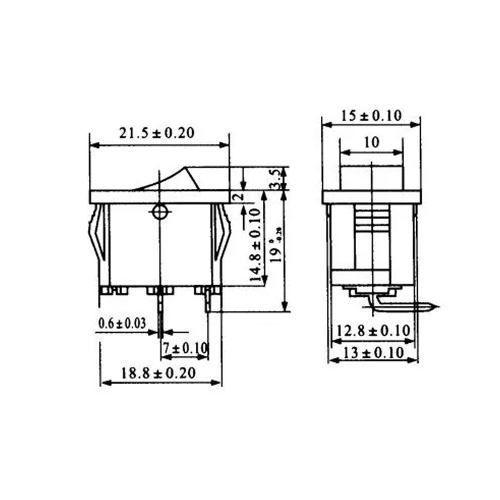 3x Mini Chave Gangorra KCD11-101 Liga / desliga 2 Terminais 3A 250V