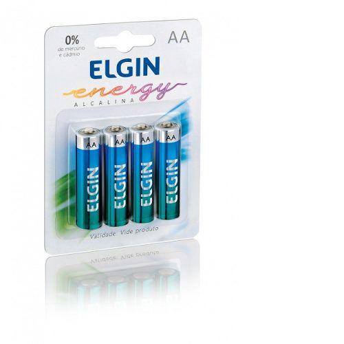 4x Pilha Alcalina Elgin AAA Palito em Cartela