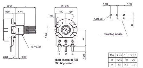 Potenciômetro 5k Linear Estriado 15mm Wh148 B5k L15