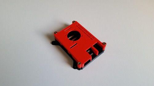 Case para Raspberry Pi 2 e 3 Vermelha com Base Preta 3D