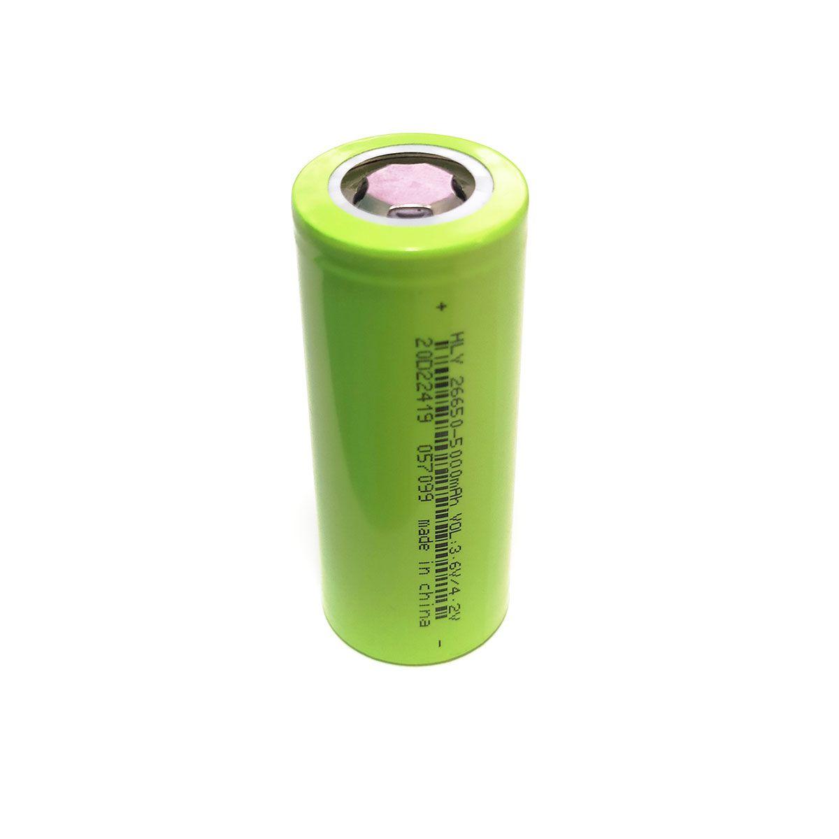 1x Bateria 3,7V HLY 25650 de Lítio Recarregável - 25mm x 65mm