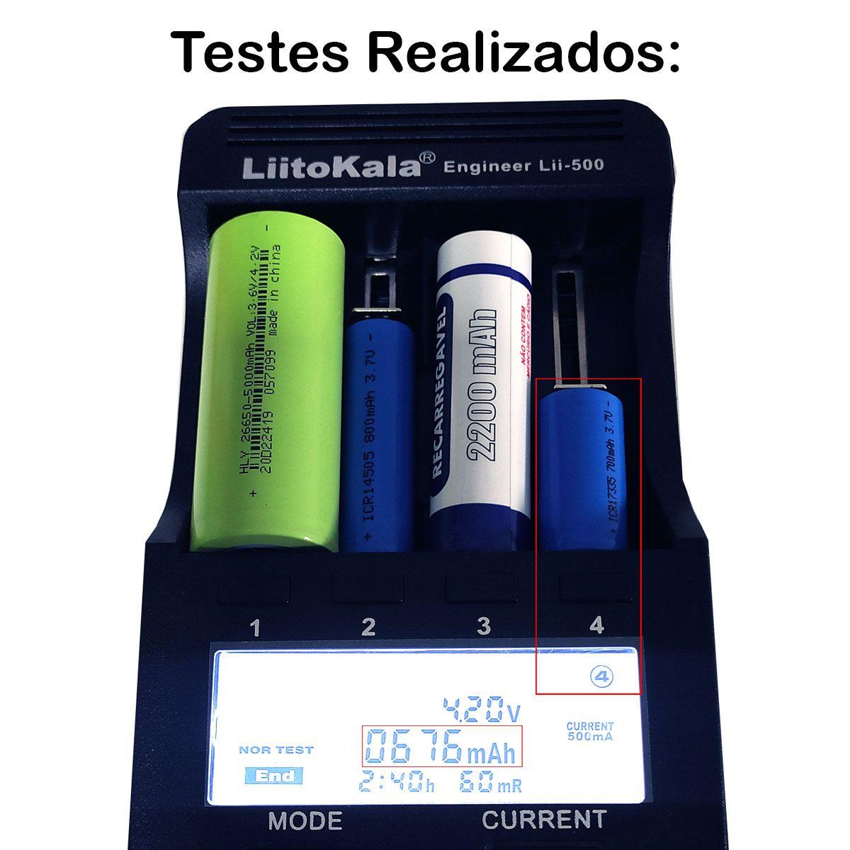 1x Bateria 3,7V ICR 17335 de Lítio Recarregável