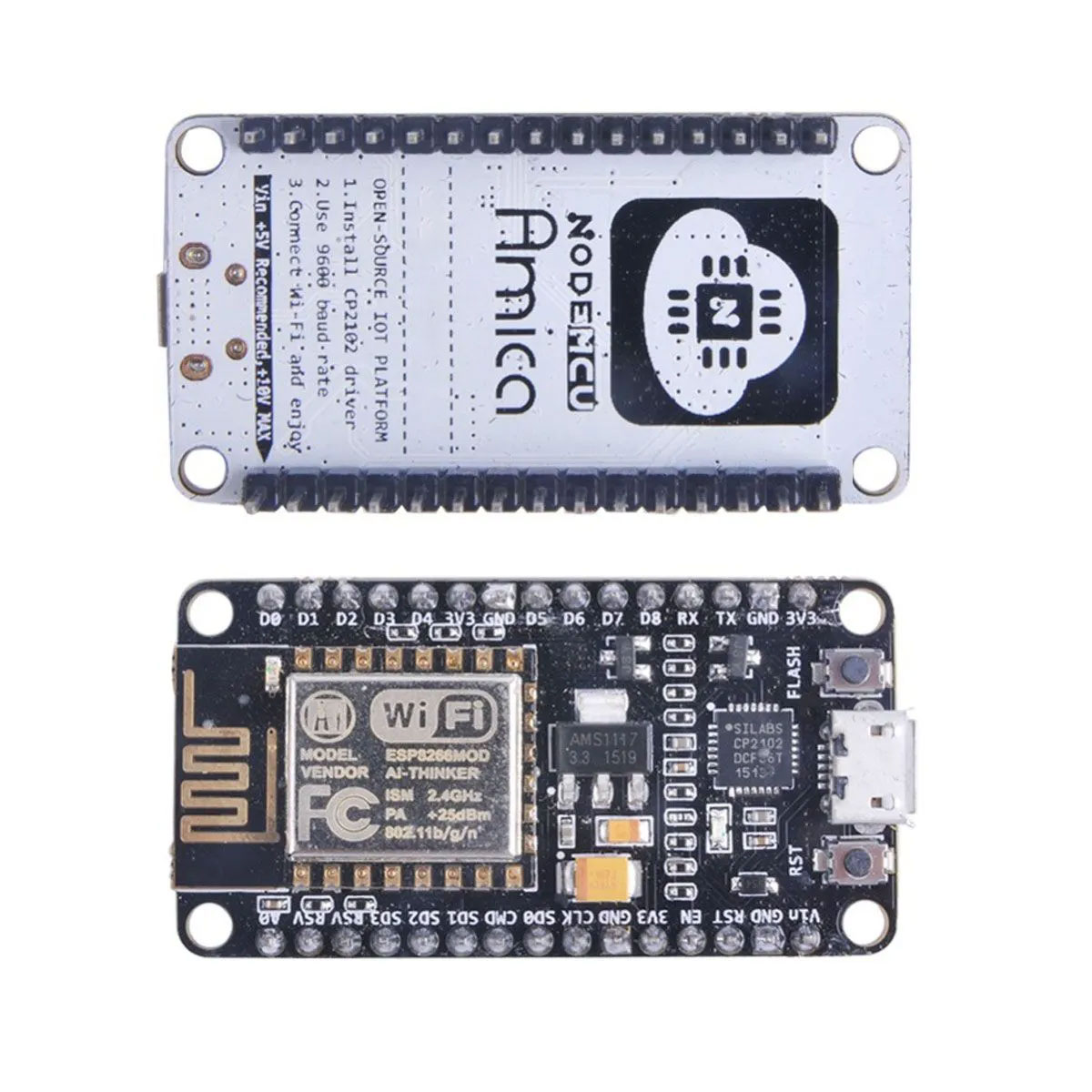 1x Placa ESP-12 NodeMCU V3 Wifi 802.11 B/g/n Esp8266 Esp 12 Amica + Cabo