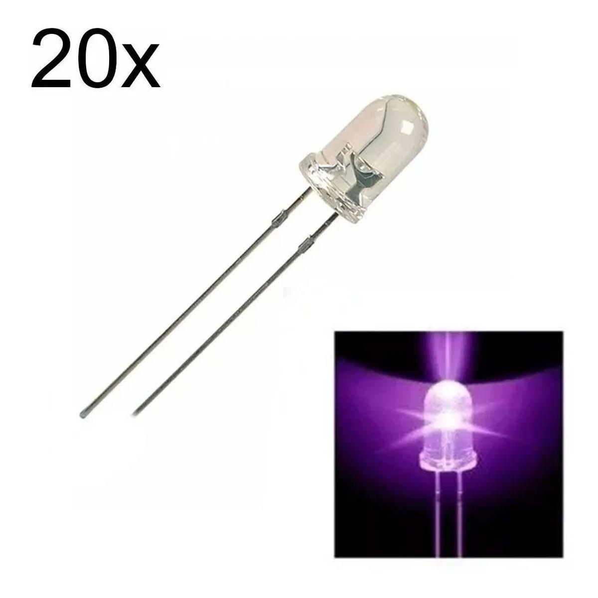 20 Led UV Ultra Violeta de 5mm Alto Brilho + 20 Resistores para 12V