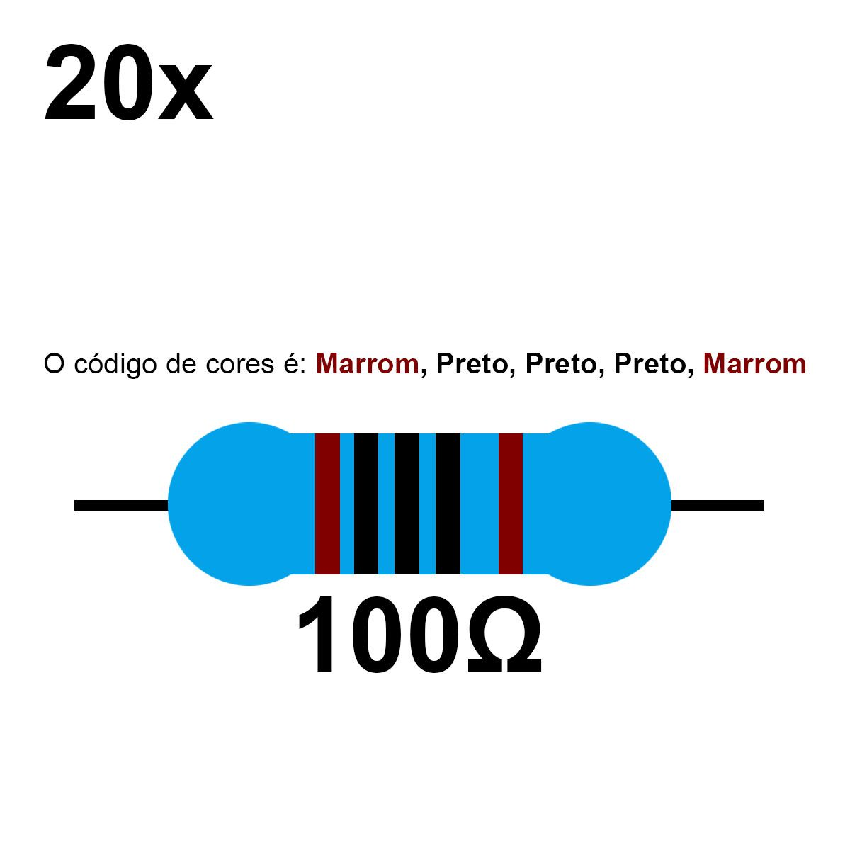 20 Resistor 100 Ohm 1/4w