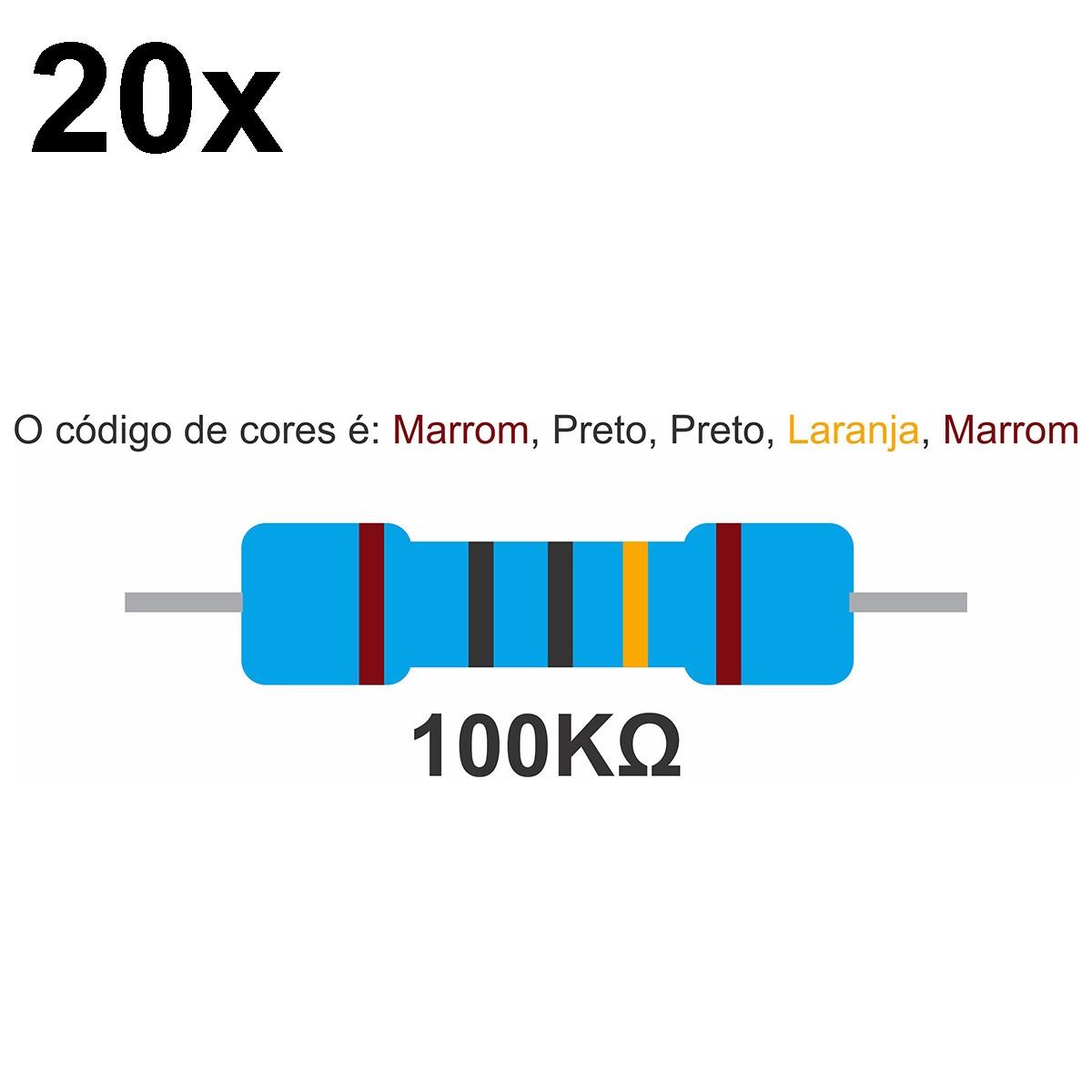 20 Resistor 100k Ohm 1/2w 0,5w