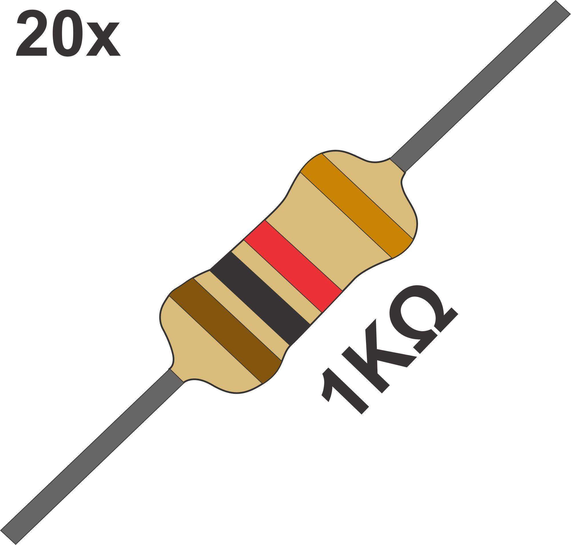 20 Resistor 1K Ohms 1/4 W 5% de Tolerância