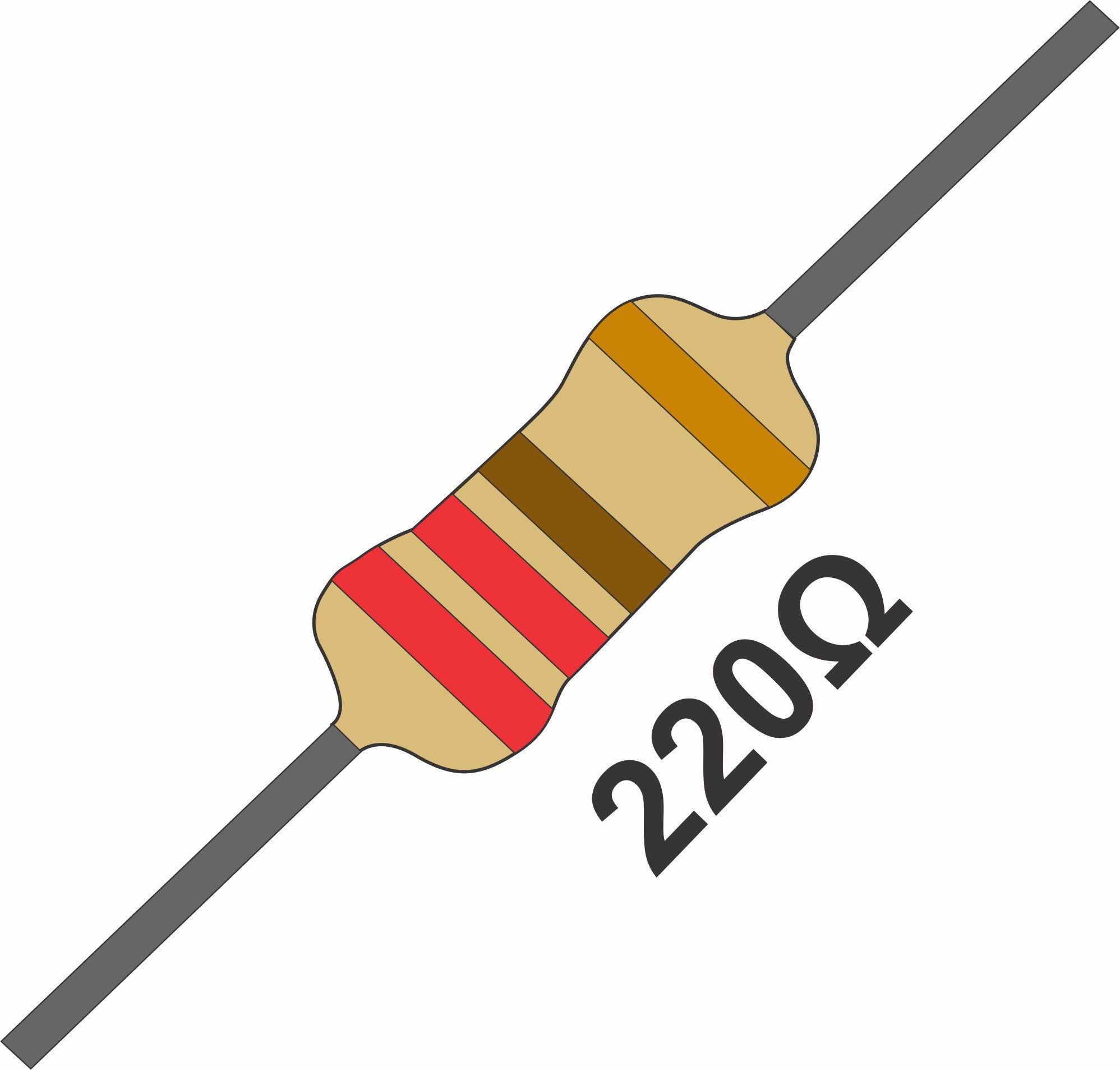 20 Resistor 220 Ohms 1/4 W 5% de Tolerância