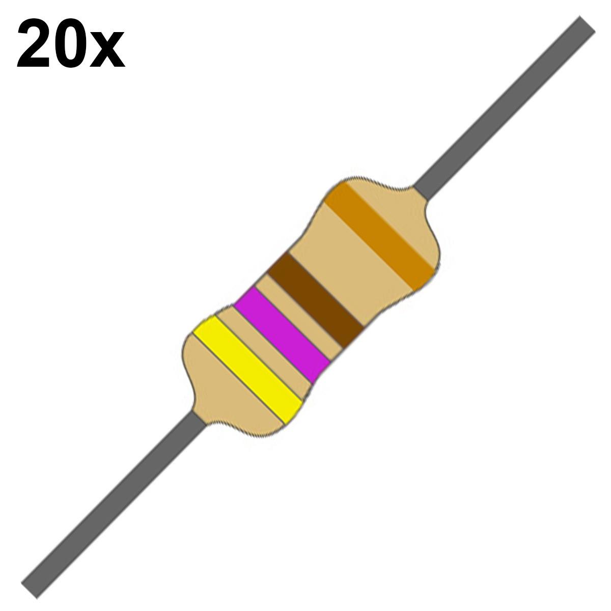 20 Resistor 470 Ohms 1/4 W 5% de Tolerância