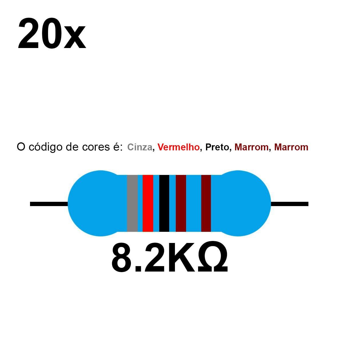 20 Resistor 8.2K 8k2 Ohm 1/4w
