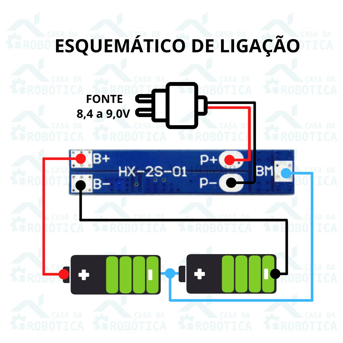 20x Carregador de Bateria Litio 2S Lipo 7A c/ Proteção de Carga e Descarga BMS