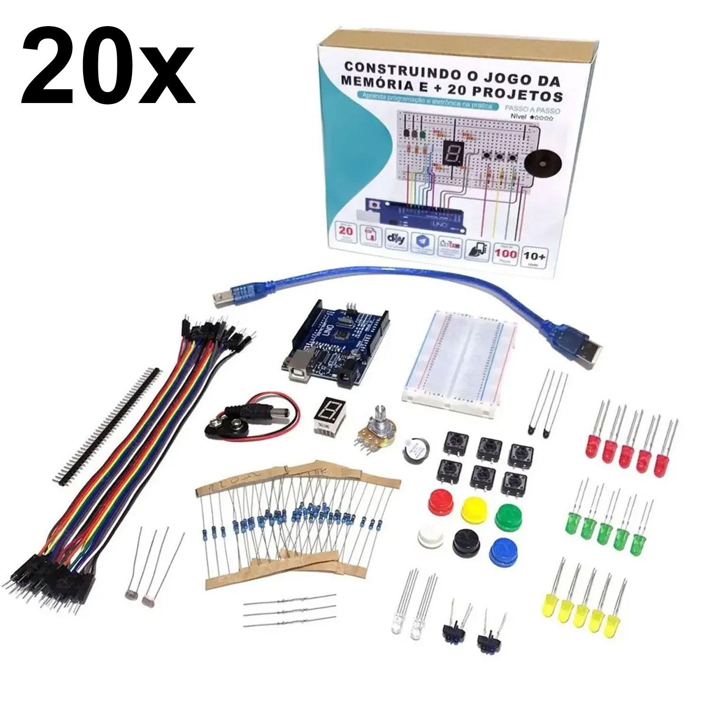 20x Kit Iniciante para Arduino com Tutorial - Construindo o Jogo da Memória e + 20 Projetos!