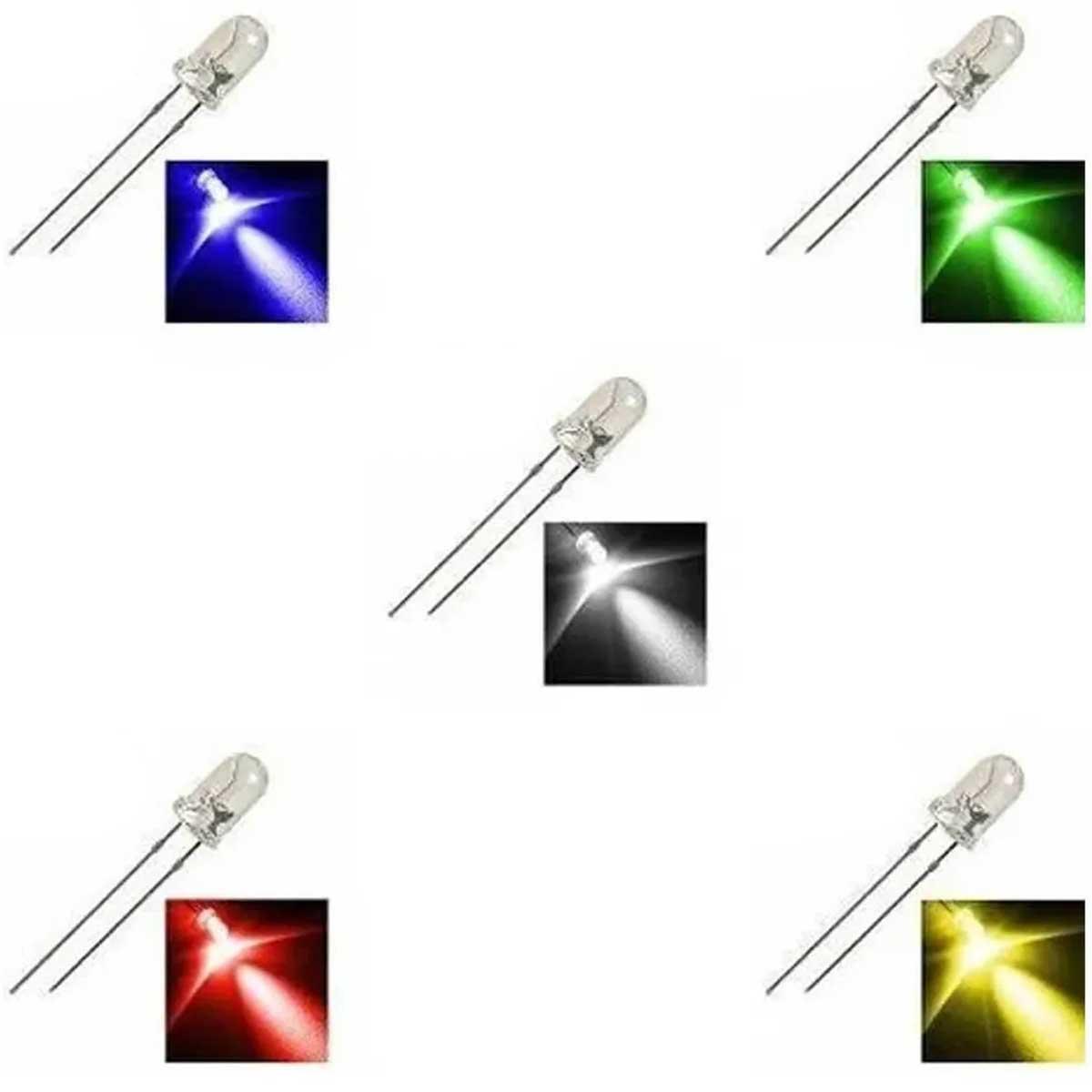 20x Led Colorido 5mm Alto Brilho 4 cor de cada: Amarelo, Vermelho, Verde, Azul e Branco