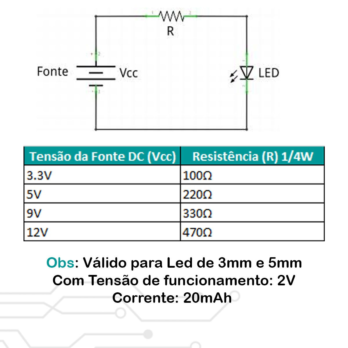 20x Led Verde Difuso 3mm
