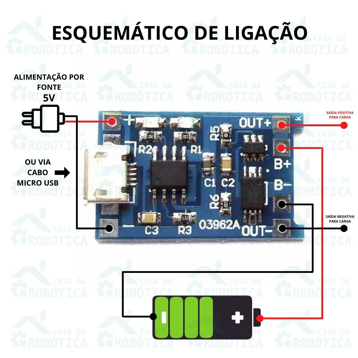 20x Módulo Carregador de Bateria Lítio TP4056 TC4056 com Proteção