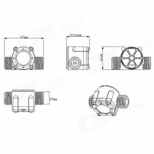 Sensor Fluxo / Vazão de Agua 1/2 1 a 30 Litros / Min YF-S201