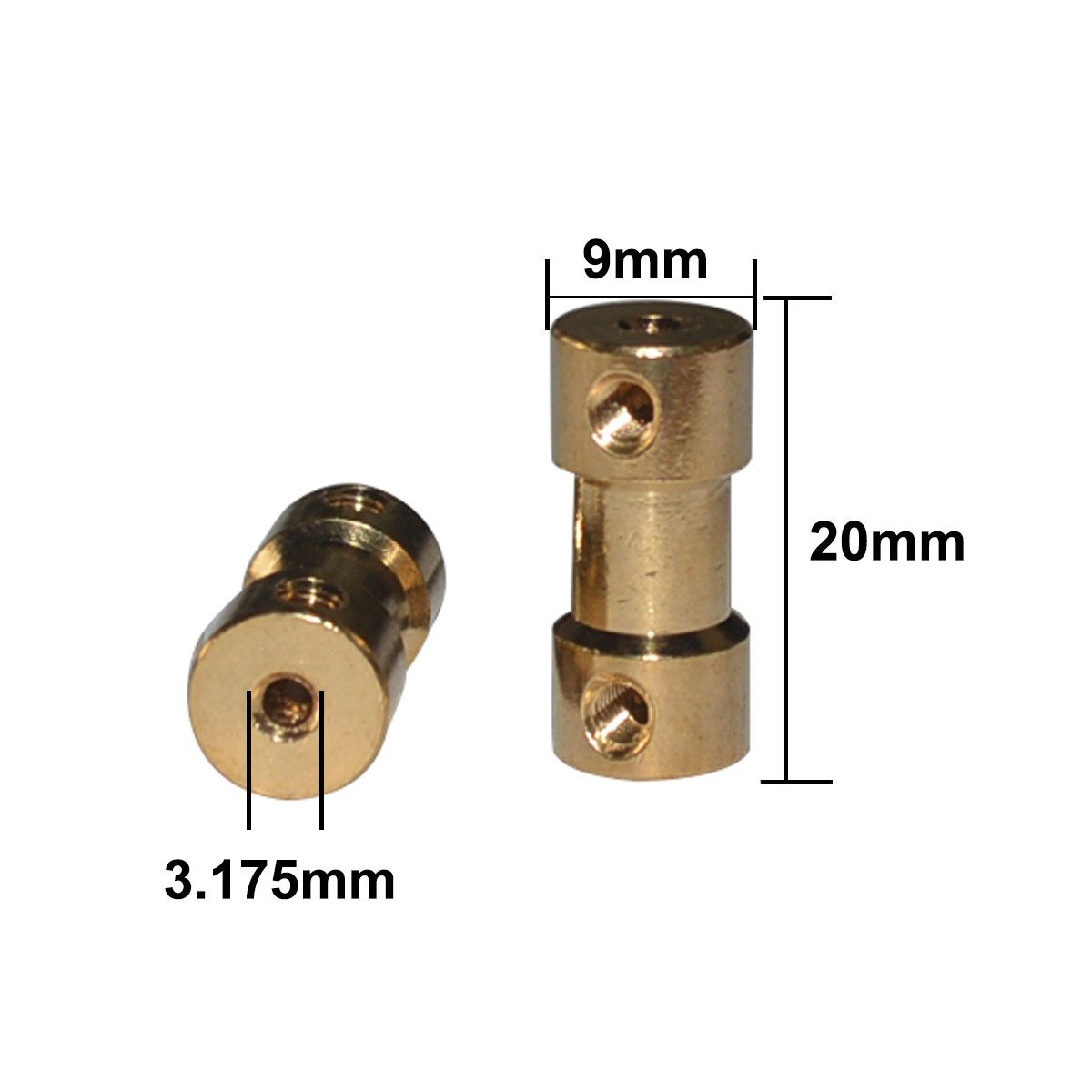 2x Acoplador de Latão para Motor eixo 3,175mm em ambos os lados