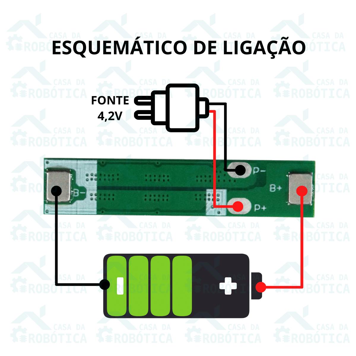 2x Carregador Bateria 3,7v 4,2v Bms 1S 10A Proteção Carga Descarga