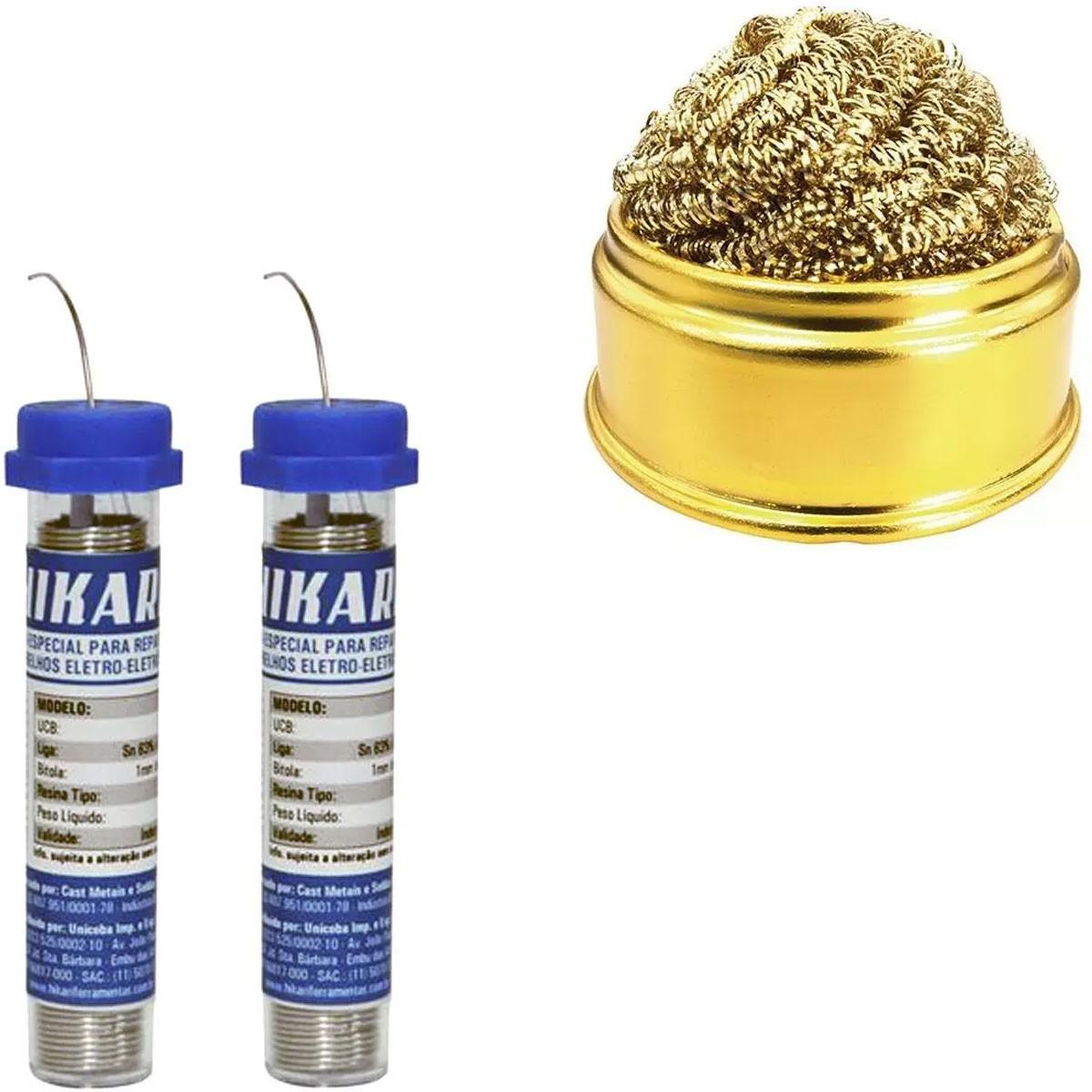 2x Estanho Tubete 1mm + Esponja Metálica Com Suporte Hikari