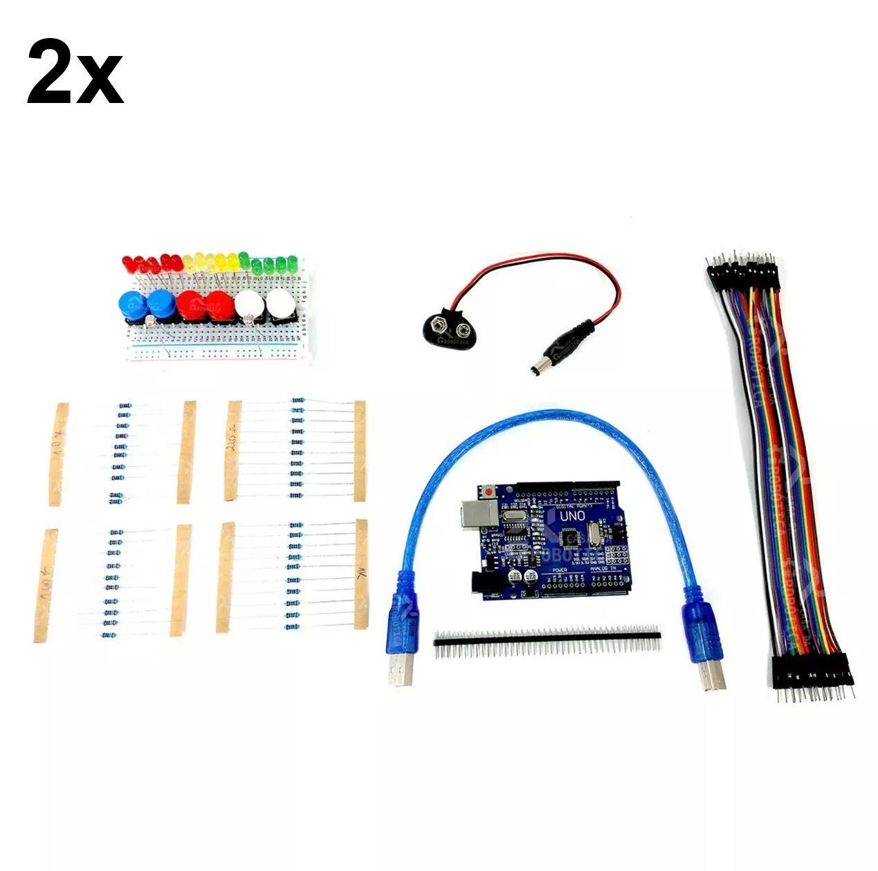 2x Kit Uno SMD R3 para Iniciantes em Arduino