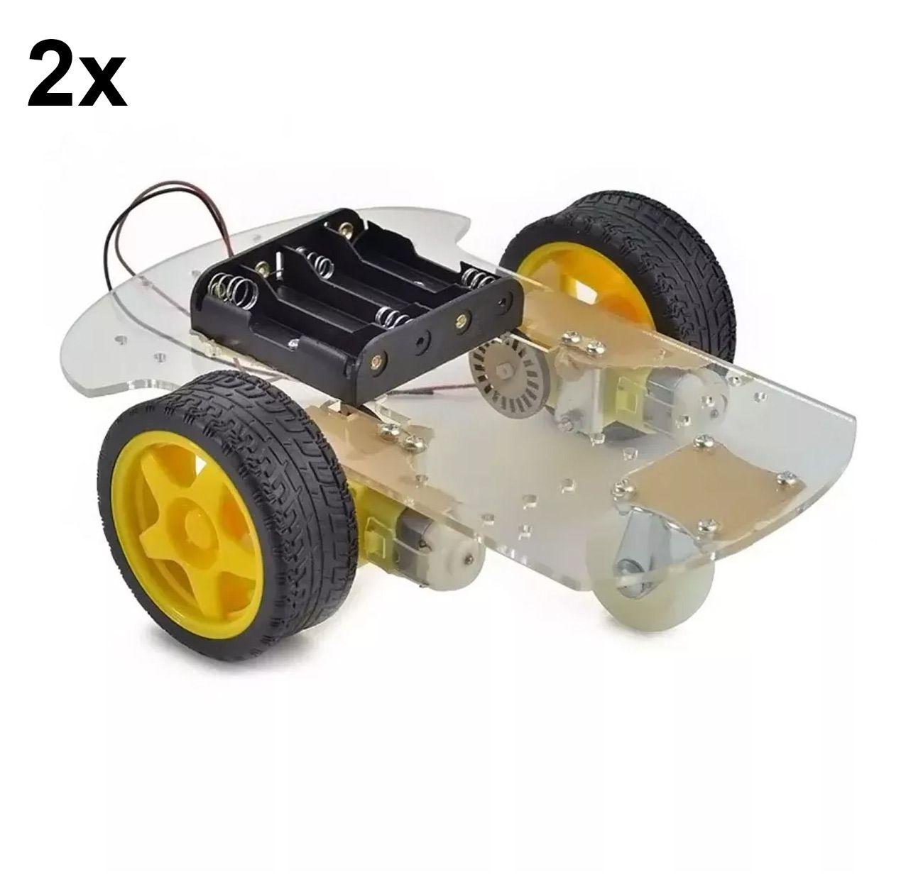 2x Kits Chassi com 2 Rodas para Robótica / Robô Projeto Arduino Carro Pi