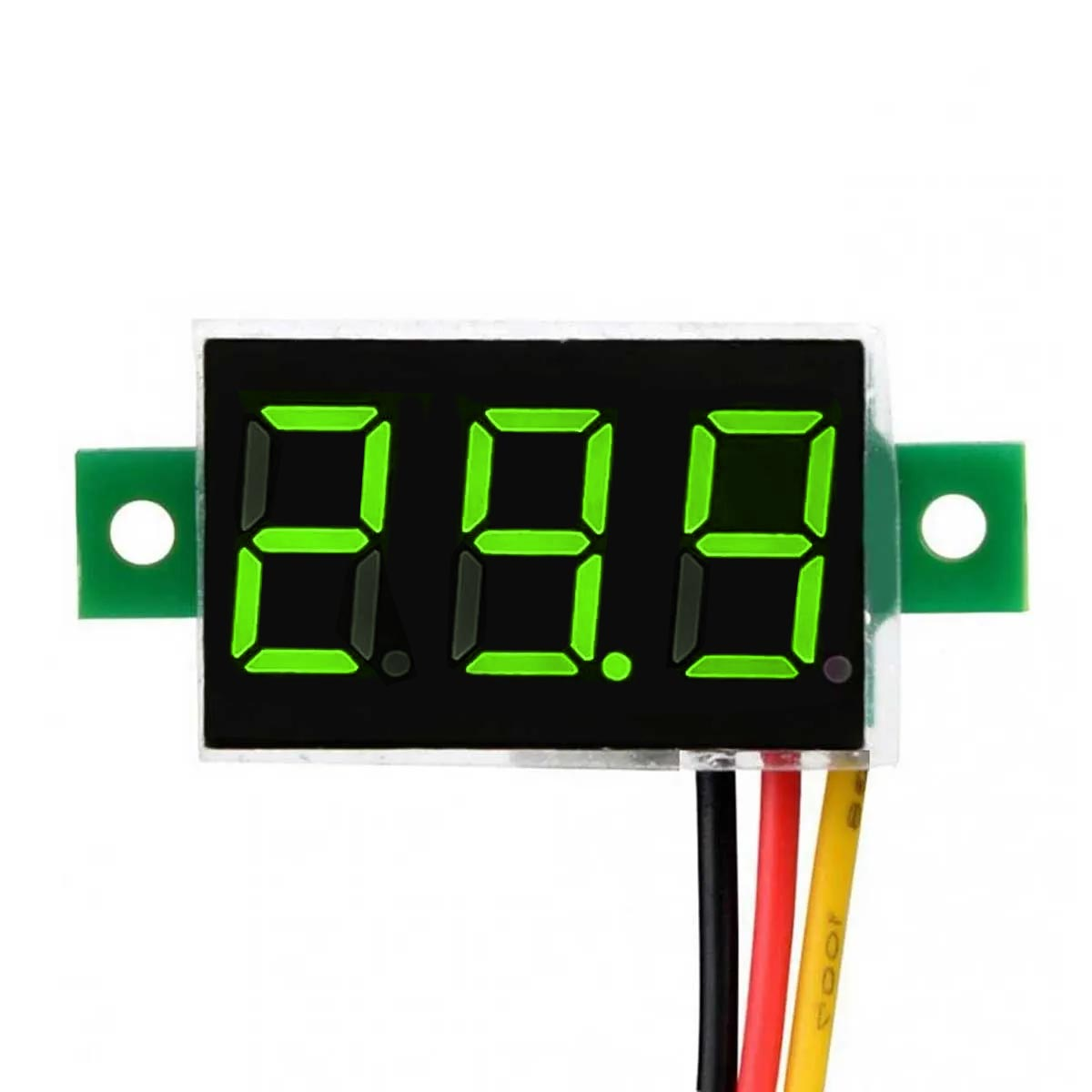 2x Mini Voltímetro Digital 0v a 100v | Display Verde