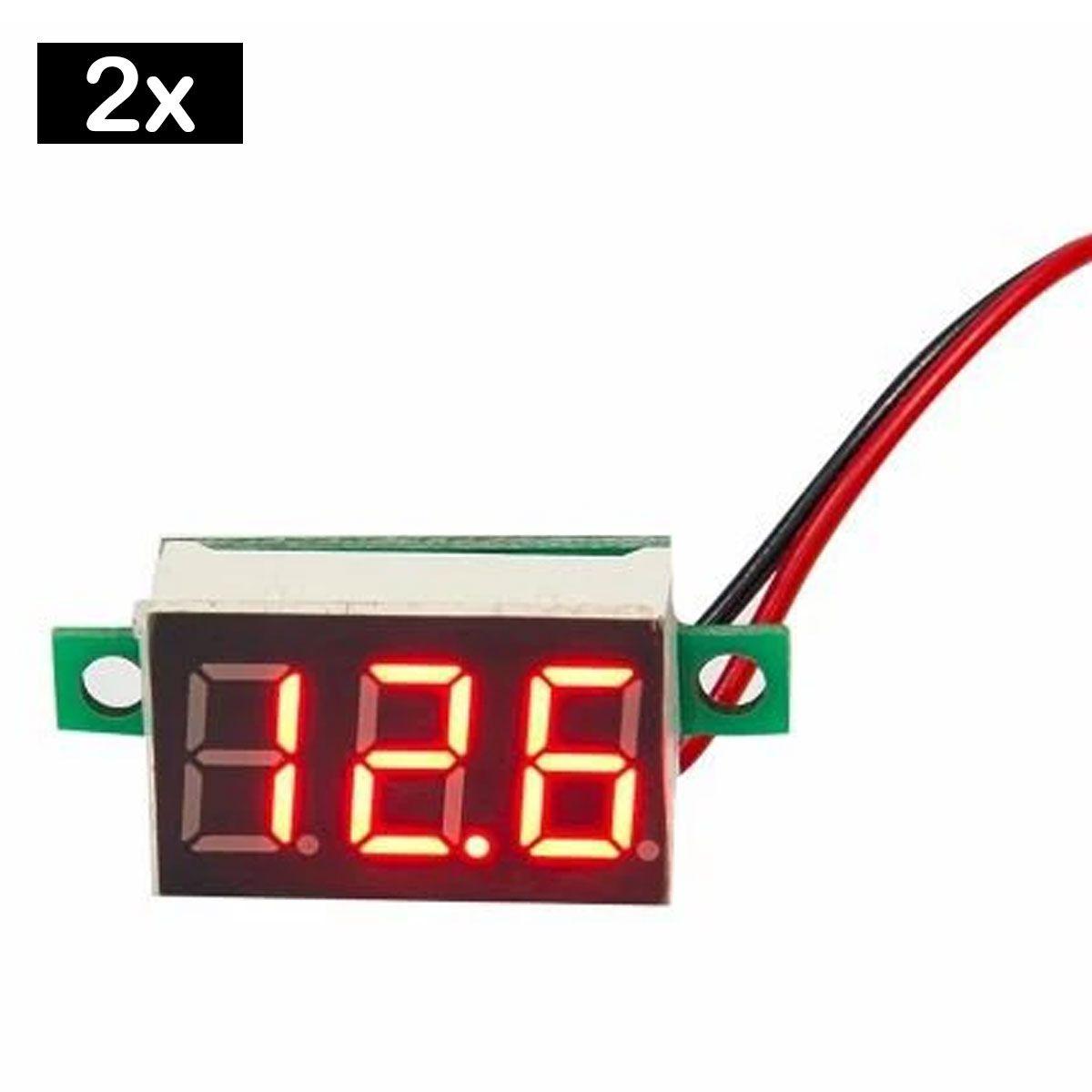 2x Mini Voltímetro Digital 0v a 100v | Display Vermelho