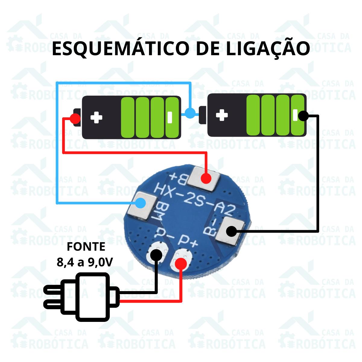 2x Módulo carregador de bateria 2S 5A com proteção BMS