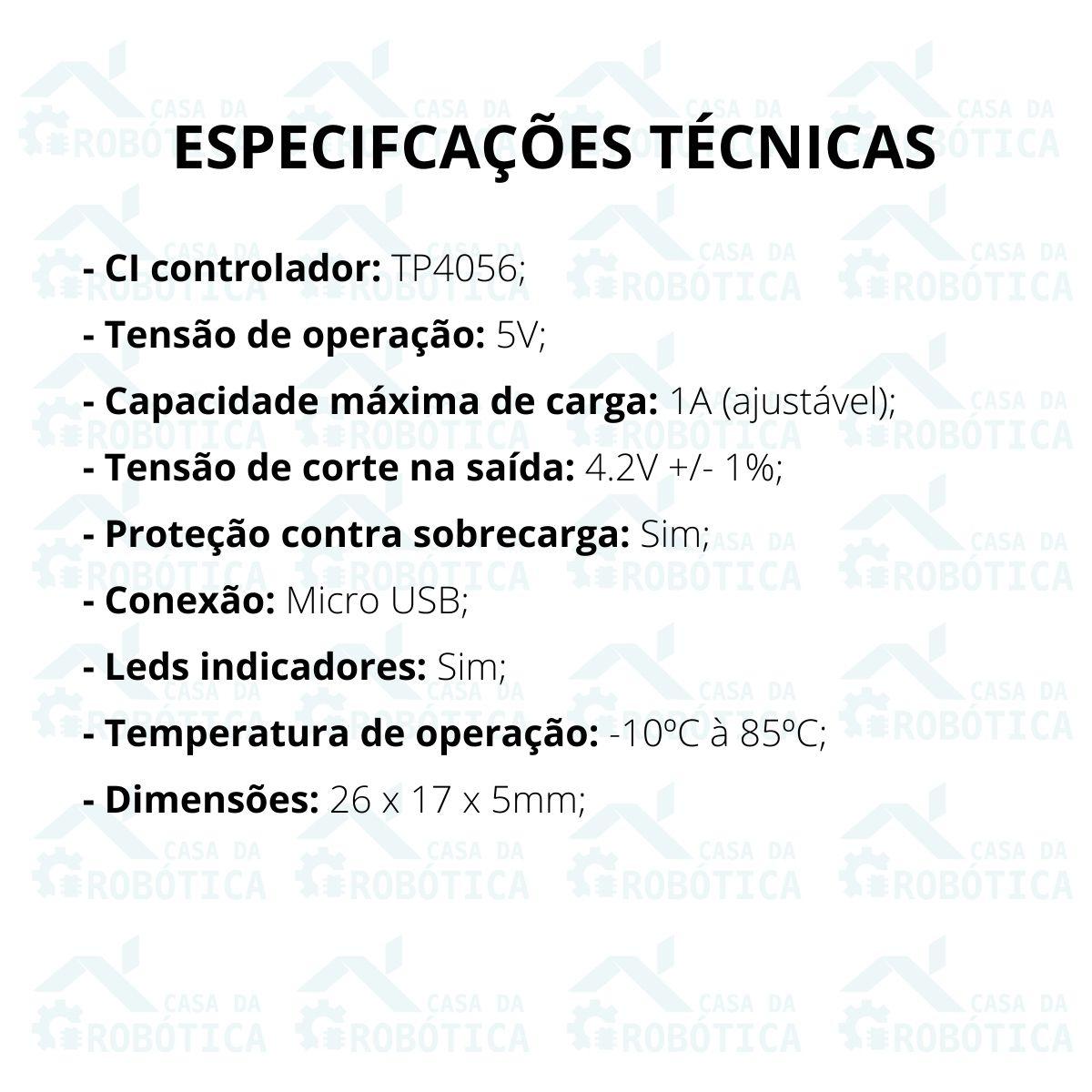 2x Módulo Carregador de Baterias de Lítio TP4056 com Proteção