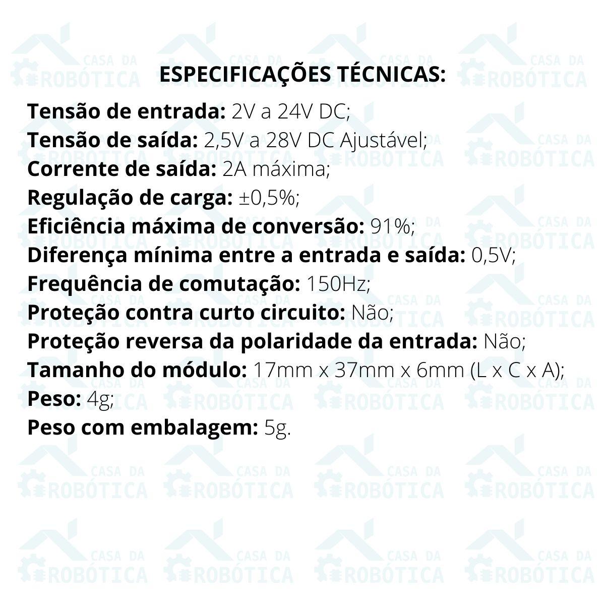 2x Módulo Regulador de Tensão Ajustável MT3608 Step Up 2.5V a 28V