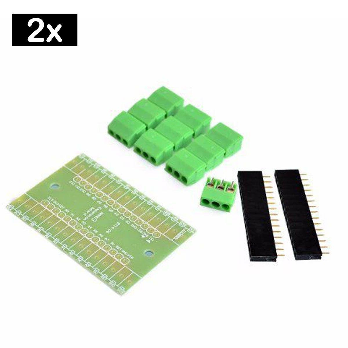2x Placa Borne Terminal Adaptador Compatível com Arduino Nano
