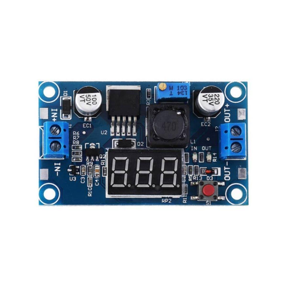 2x Regulador de Tensão Step Down Ajustável LM2596 DC-DC com Display